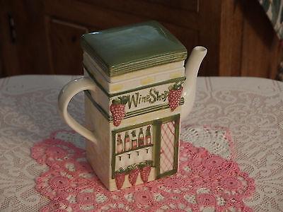 VTG Tall/Rectangular Shaped Tea Pot w/Wine Shop/Bar Embosssed Details, Pre-own