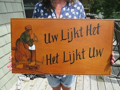 VINTAGE ORIGINAL 1940's WWII WOOD 7UP SIGN YOU LIKE IT IT LIKES YOU IN DUTCH