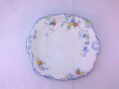 VINTAGE SUTHERLAND CHINA BLUE FLORAL CAKE PLATE
