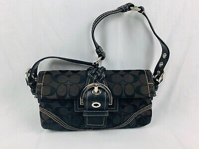 COACH  Black Signature Jacquard  Soho Buckle Flap Handbag 👜 No-K05Q-6280