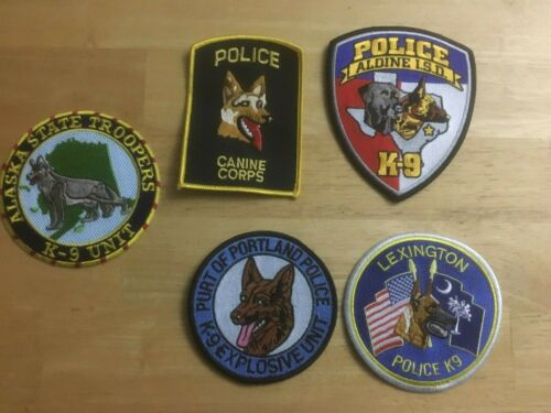 LOT OF 5  DIFFERENT  K-9 SHOULDER PATCHES S001