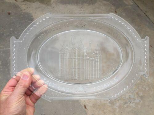 Salt Lake Temple Glass Platter w/Eye Of Providence & Beehive