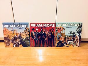 3 MINT VINTAGE VILLAGE PEOPLE RECORDS RARE LP VINYL
