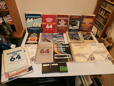 Lot of Commodore 64 - Books and Manuals + (3) Games