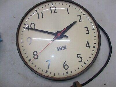 """IBM 16"""" Wall Clock Industrial Schoolhouse School Decor Vintage slave 1950s 5645"""