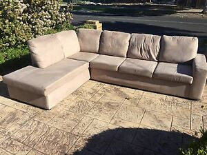 DELUXE SOFA / COUCH + CHAISE 6 SEATER MUSHROOM SUEDE - THE DENVER Brighton Bayside Area Preview