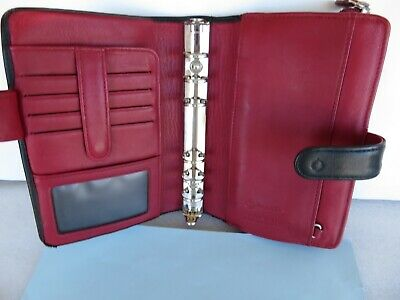 Compact 34 Rings Blackred Leather Franklin Covey Plannerbinder Zip Snap