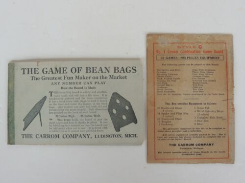 Antique Carrom Board Game of Bean Bags Ten Pins Instruction Manual Advertising