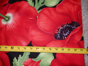 Poppy Poppies Large Flower Flowers Allover Black C1049 TT fabric 36