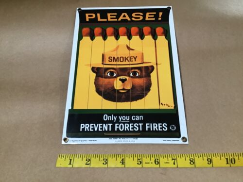 Vintage 1988 SMOKEY Bear PLEASE PREVENT FOREST FIRES Porcelain Advertising Sign