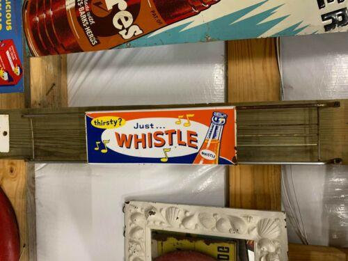 Very Nice MINT!! Whistle Orange Soda Metal Door Push Sign COLA GAS OIL