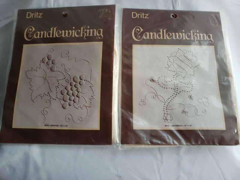 Set Of 2 Dritz Candlewicking Kits 9003-Jacobean 9012-Grapes