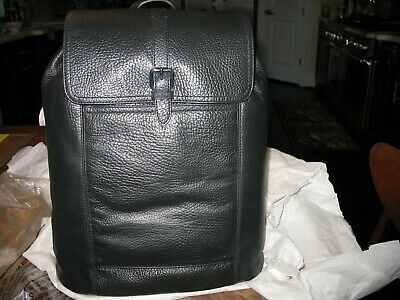 NWT Cole Haan  Pebbled  Leather Flat Backpack/Laptop bag BLACK