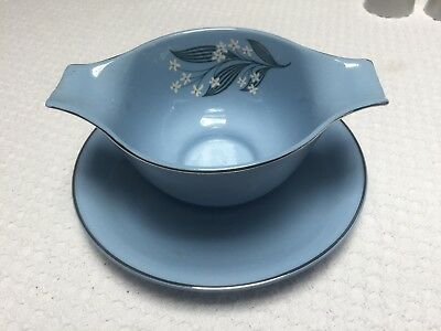 Vintage Homer Laughlin Jubilee Skytone Stardust All Blue Fast Stand Gravy