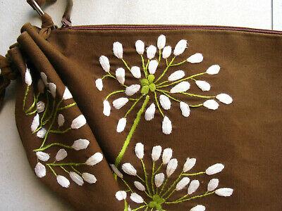 Tasche Braun Stoff Handtaschen (Sunsa Sommer Tasche mit Stickerei Blume aus Stoff braun NEU Handtasche)