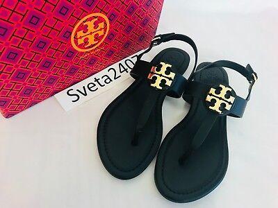 Tory Burch NIB Bryce Flat Thong Sandal Black Leather #43066 Logo Rare MANY SIZES - Logo Flat Thong Sandal