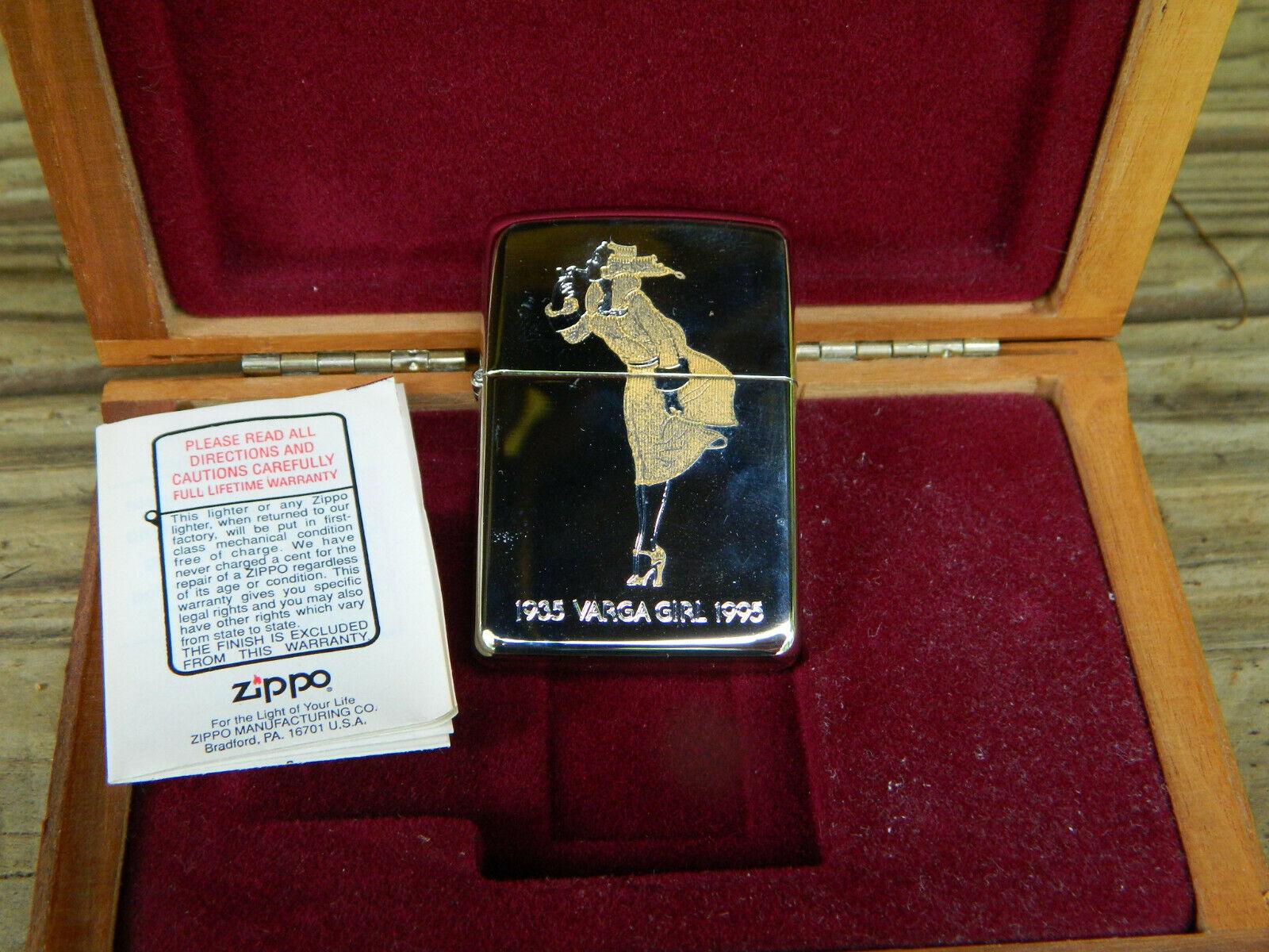 1935 VARGA GIRL 1995 LIMITED EDITION ZIPPO LIGHTER WOOD BOX
