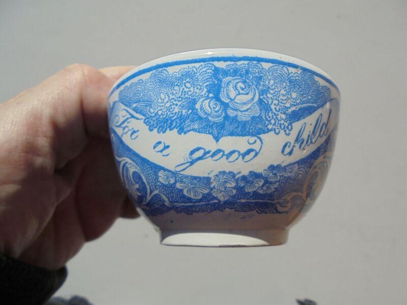 "Antique Blue Transferware ""For A Good Child"" Cup w Birds Flowers Etc"
