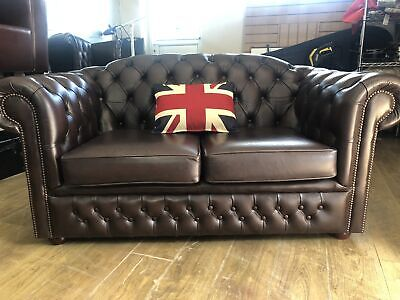 CHESTERFIELD  Brown Leather 2 SEATER SETTEE  SOFA