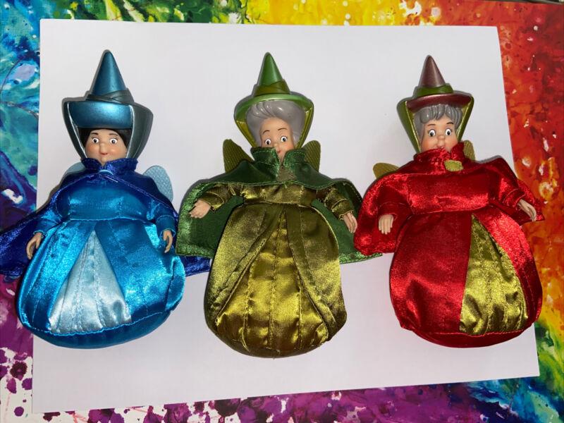 Disney Store Sleeping Beauty Fairies Dolls Figures Flora Fauna Merryweather Set
