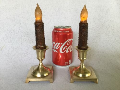 """Set of 2 Vintage Brass Taper Candle Candlestick Holders - Made in India - 3 1/8"""""""