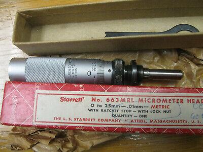Starrett Micrometer Head 663 Mrl  25mm Range .01 Gradations