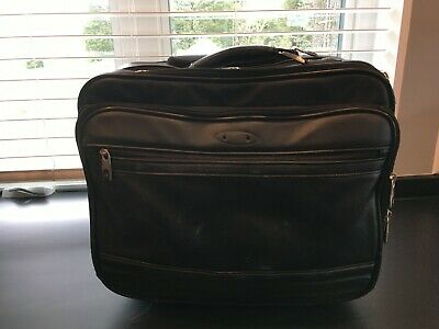 Samsonite Black Leather Retractable Handle Rolling Briefcase Laptop Bag Case