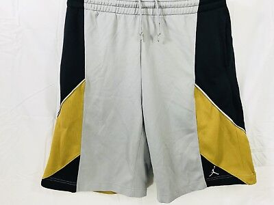 7bfc458ee0d Nike Dri-fit Air Jordan Men's Gray.Gold/Black Basketball shorts Size Large