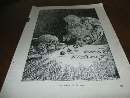 1918 Original POLITICAL CARTOON - GERMAN KAISER Rolling DICE Skull Skeleton WWI