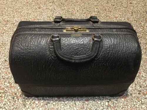 EMDEE BY SCHELL ANTIQUE COWHIDE LEATHER DOCTORS BAG STEAMPUNK AUTHENTIC-RARE