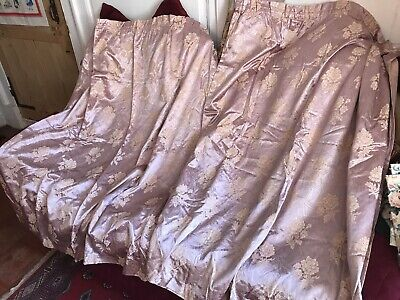 "Beautiful Vintage 1950's Pink Sateen Curtains  53"" L x 46"" W - Superb"