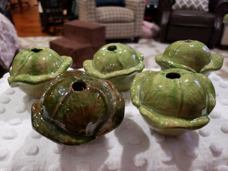 Vintage Ceramic Green Cabbage Macrame Beads Lot of 5 NOS Vegetable Bead Kitchen