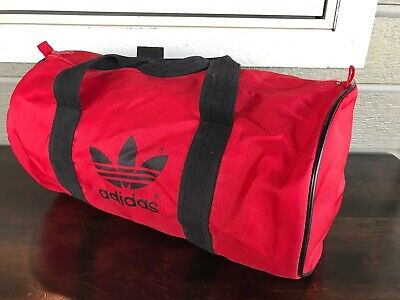 Vintage Adidas Duffle Gym Bag Red Black Made in Taiwan dbdd52fa86897