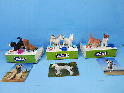 BREYER POCKET BOX DOGS-3 Sets-6 Dogs Total W/Dish,Sticker-New In Box