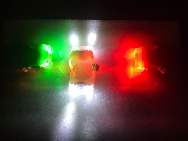 Portable Clamp On LED White Green Red Navigation Marine Lights Boat Bow Kayak