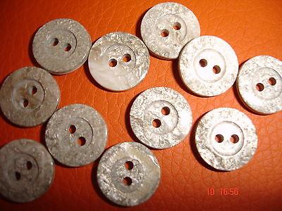 10 Knöpfe graubeige silbrig 12mm 2-Loch W43.8