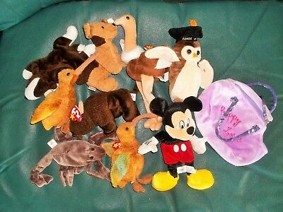 TY BEANIE BABIES-lot of 8+ Mickey Mouse and carry bag-2 BEAK,STRETCH,WISE,TUFFY for sale  Shipping to India