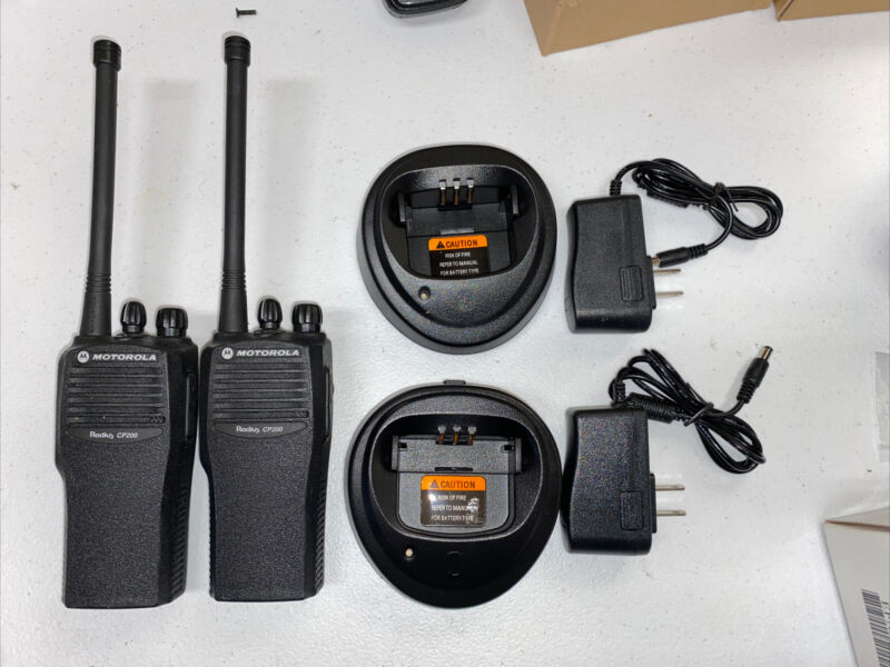 2 Motorola CP200 AAH50JDC9AA1AN 4 Channel VHF  Radios, Batteries And Chargers