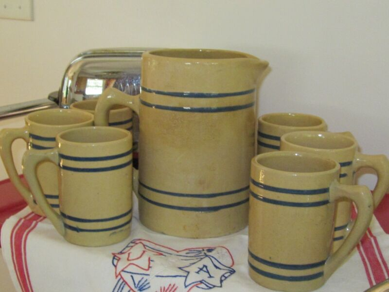 1920sBuckeye Rootbeer Yellow Ware Pitcher & Six matching mugs