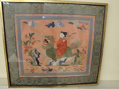 Wunderschönes Seidenmalerei Seidenbild  Chinese / Japaner auf Drachen