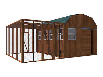 Chicken Coop Plans DIY Poultry Hen House With Run Kennel 12 x 16 Build Your (Building Your Own Chicken Coop And Run)
