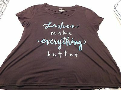 Boutique, Size 1X, Super Cute NWT Shirt, Lashes Make Everything (Best Plus Size Boutiques)
