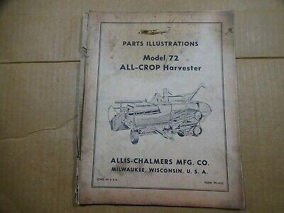 Allis Chalmers Model 72 All Crop Harvester Parts Illustrations Catalog Book