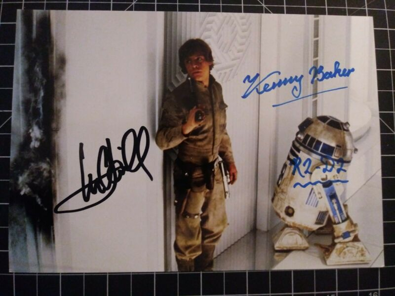 Mark Hamill and The Late Kenny Baker STAR WARS w/COA Signed Photo Luke/R2 Bespin