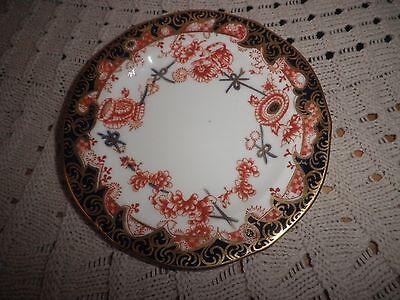 Antique Royal Crown Derby Scissor Pattern Porcelain Saucer Excellent Condition