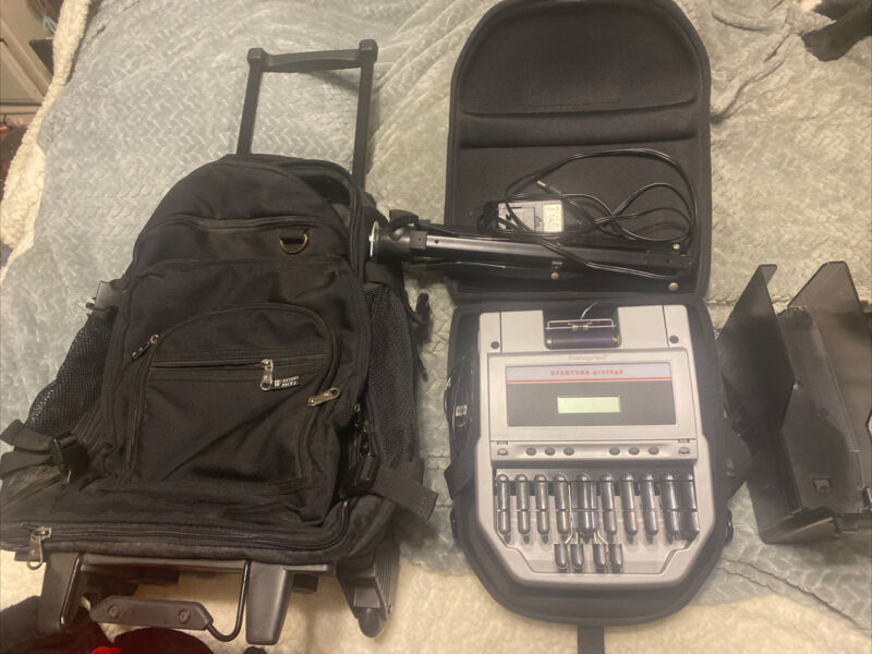 Stenograph Protege Stenography Machine w/ stand with rolling bag USB enabled NEW