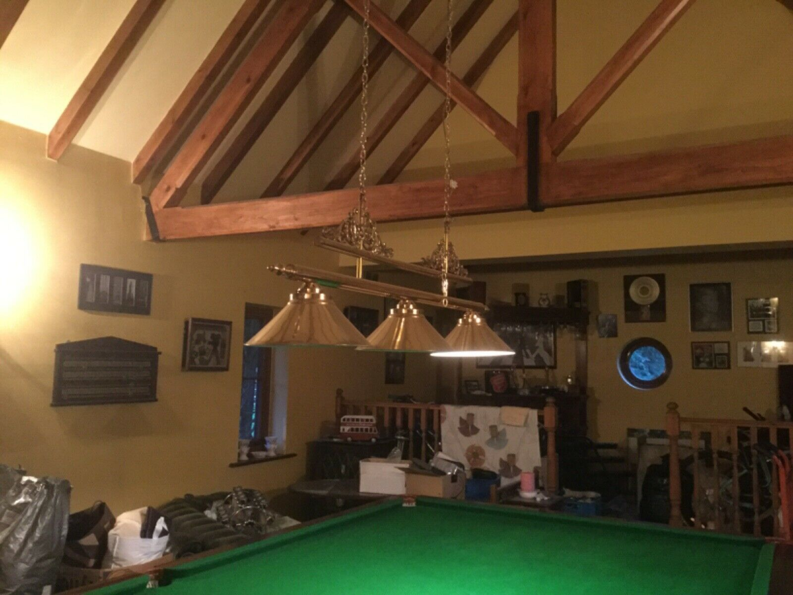snooker accessories: cues, cue stand, traditional scoreboard, light fitting