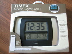 NEW TIMEX Atomic Digital Clock Indoor/Outdoor Temp Moon Phase Calendar Wireless