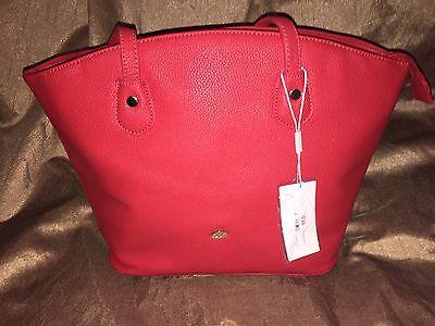 David Jones Paris Faux Pebbled Leather Red Handbag Purse Shoulder Bag NWT