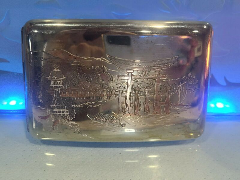 Vintage .925 Sterling Silver Wallet Card Case with Asian Scenery